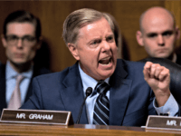 Sen. Lindsey Graham, R-S.C., points as Democrats as he defends Supreme Court nominee Brett Kavanaugh at the Senate Judiciary Committee on Capitol Hill in Washington, Thursday, Sept. 27, 2018.