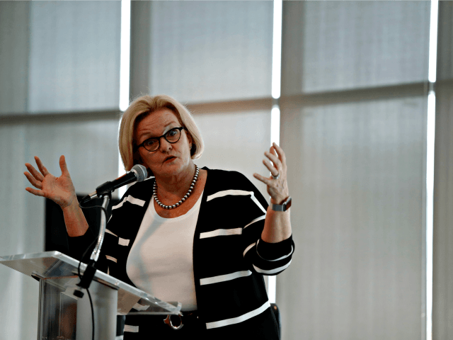 Sen. Claire McCaskill, D-Mo., speaks to students and supporters at the University of Missouri - St. Louis Tuesday, Sept. 11, 2018, in St. Louis. McCaskill is running for re-election.