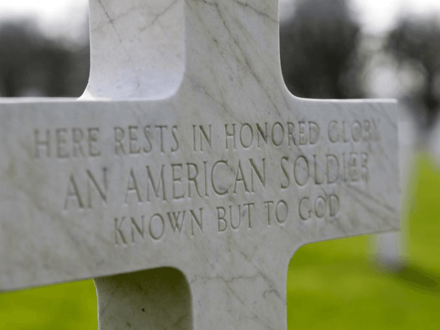 FILE - In this March 24, 2017 file photo, a gravestone marker for an unknown American soldier sits in the rows crosses at the Meuse-Argonne American cemetery in Romagne-sous-Montfaucon, France. It was America's largest and deadliest battle ever, with 26,000 U.S. soldiers killed and tens of thousands wounded. A hundred …