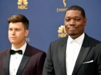 Colin Jost (L) and Michael Che attend the 70th Emmy Awards at Microsoft Theater on September 17, 2018 in Los Angeles, California. (Photo by Matt Winkelmeyer/Getty Images)