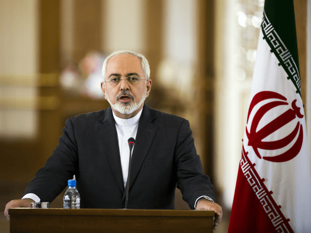Iranian Foreign Minister Mohammad Javad Zarif speaks during a joint press conference with his French counterpart Laurent Fabius following their talks in Tehran