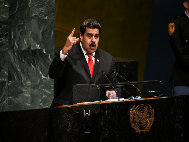 Nicolás Maduro, President of Venezuela delivers a speech at the United Nations during the United Nations General Assembly on September 26, 2018 in New York City. World leaders are gathered for the 73rd annual meeting at the UN headquarters in Manhattan. (Photo by Stephanie Keith/Getty Images)