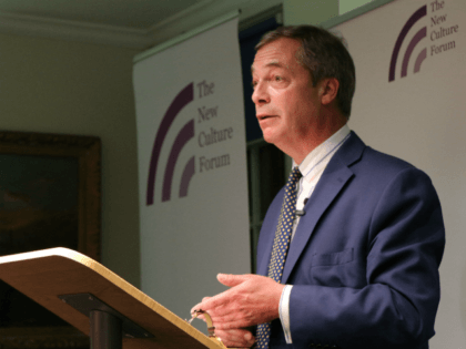 """UKIP MEP Nigel Farage delivering the speech, """"Social Media: the New Battleground for Free Speech"""" for the 2018 Smith Lecture at The New Culture Forum in London on Thursday, September 20th, 2018."""