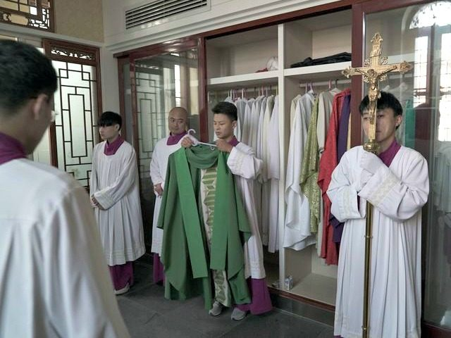 Preparations before a Mass in Anyang, in the province of Henan, China, last month