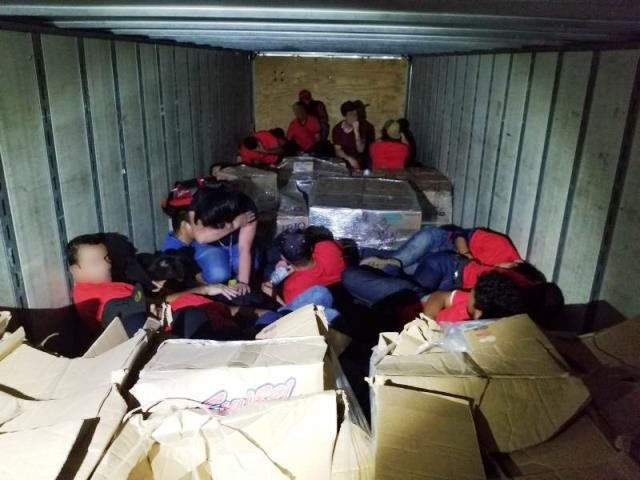 Laredo Sector Border Patrol agents rescue 55 illegal aliens from a tractor-trailer where human smugglers locked them in with near-100 degree heat. (Photo: U.S. Border Patrol/Laredo Sector)