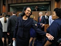 Former Secretary of State Condoleezza Rice, center, arrives to introduce Supreme Court nominee Brett Kavanaugh, Tuesday, Sept. 4, 2018, on Capitol Hill in Washington, at his Senate Judiciary Committee confirmation hearing to replace retired Justice Anthony Kennedy.