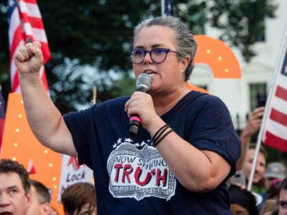US comedian Rosie O'Donnell addresses a protest against US President Donald Trump in front of the White House in Washington, DC, on August 6, 2018. (Photo by NICHOLAS KAMM / AFP) (Photo credit should read NICHOLAS KAMM/AFP/Getty Images)