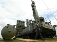 A 9A83ME launcher unit of the S-300VM 'Antey-2500' (NATO reporting name SA-23 Gladiator\Giant), Russian-made anti-ballistic missile system, is displayed during the MAKS-2013, the International Aviation and Space Show, in Zhukovsky, outside Moscow, on August 27, 2013. AFP PHOTO / KIRILL KUDRYAVTSEV (Photo credit should read KIRILL KUDRYAVTSEV/AFP/Getty Images)