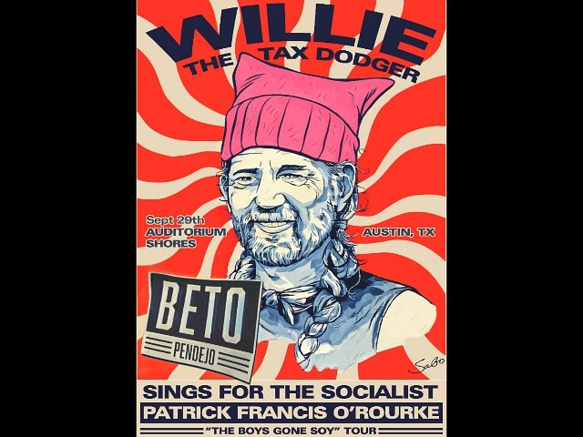 Street Artist Sabo Lampoons Willie 'The Tax Dodger' Nelson Ahead of Beto O'Rourke Campaign Concert
