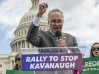 In this Aug. 1, 2018 file photo, Senate Minority Leader Chuck Schumer, D-N.Y., joins protesters objecting to President Donald Trump's Supreme Court nominee Brett Kavanaugh at a rally Capitol in Washington. Schumer, who plans to meet Kavanaugh privately early this week, is methodically building arguments that would help vulnerable Democratic …