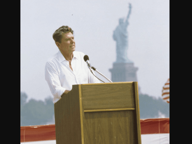 Ronald Reagan giving a speech at Liberty State Park in Jersey City New Jersey on September 1, 1980