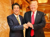"Prime Minister Shinzo Abe of Japan, visiting New York on the occasion of the United Nations General Assembly meeting, told reporters on Sunday that his dinner with U.S. President Donald Trump that night was ""very constructive"" and ranged from sharing opinions about North Korea to securing mutually beneficial trade agreements."