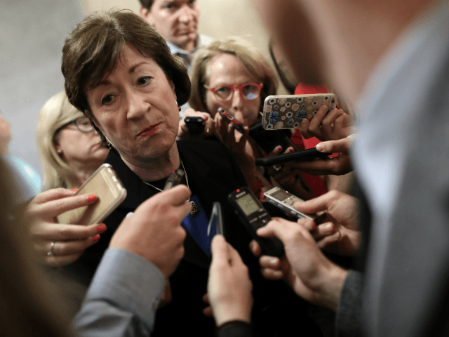 Sen. Susan Collins (R-ME) talks with reporters after leaving a meeting of Republican senators where a new version of their healthcare bill was scheduled to be released at the U.S. Capitol July 13, 2017 in Washington, DC. Collins said she still has reservations about the latest version of the proposed …