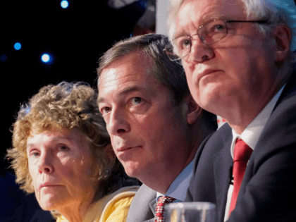BOLTON, ENGLAND - SEPTEMBER 22: (L-R) Labour MP Kate Hoey, Nigel Farage, MEP and Vice Chairman of the pro-Brexit Leave Means Leave organisation and Conservative MP David Davis, the former Secretary of State for Exiting the European Union attend a Leave Means Leave rally held at the University of Bolton …