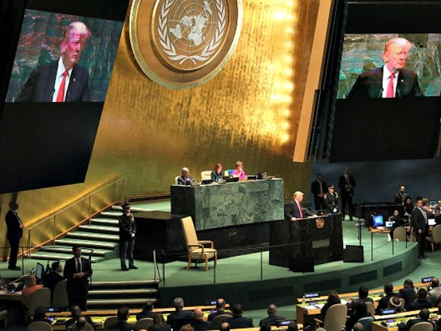 NEW YORK, NY - SEPTEMBER 25: President Donald Trump addresses the 73rd United Nations (U.N.) General Assembly on September 25, 2018 in New York City. The United Nations General Assembly, or UNGA, is expected to attract 84 heads of state and 44 heads of government in New York City for …