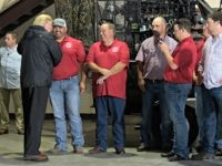 President Donald Trump meets with members of the Cajun Navy at the National Guard Armory in Lake Charles, La., where he also met those dealing with the impact of Hurricane Harvey, Saturday, Sept. 2, 2017.