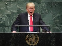 U.S. President Donald Trump addresses the United Nations General Assembly on September 25, 2018 in New York City. The United Nations General Assembly, or UNGA, is expected to attract 84 heads of state and 44 heads of government in New York City for a week of speeches, talks and high …
