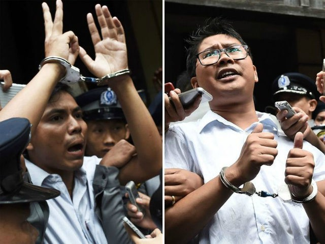 This combo shows journalists Kyaw Soe Oo (L) and Wa Lone (R) being escorted by police after their sentencing by a court to jail in Yangon on September 3, 2018. - Two Reuters journalists were jailed on September 3 for seven years for breaching Myanmar's official secrets act during their …