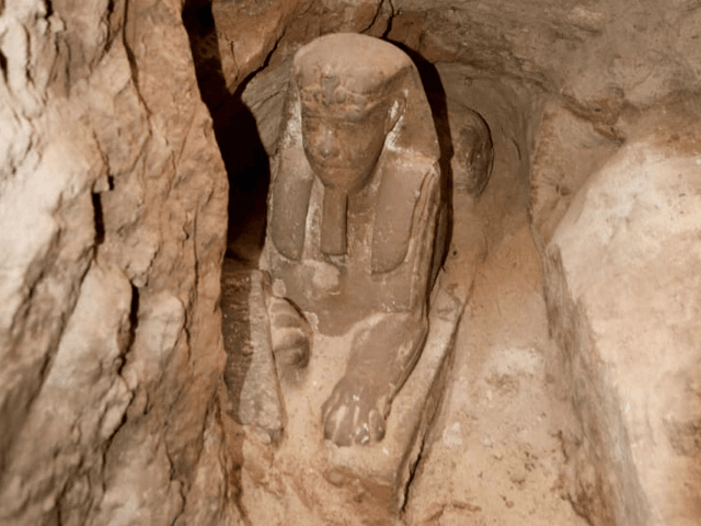 Archaeologists discover ancient sphinx in Egyptian temple