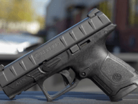 The Beretta APX Centurion is a compact, striker-fired pistol that locks into the hand via a grip with horizontal lines to and fro opposed by stippling along the sides.
