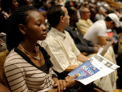 Philoria Richemond of Miami waits in an auditorium for her number to be called at a jobs fair hosted by the Congressional Black Caucus in Miami, Tuesday, Aug. 23, 2011. The fair is aimed at lowering the especially high rate of unemployment in the black community. (AP Photo/Lynne Sladky)