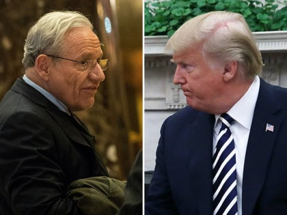 Journalist Bob Woodward (L) and President Donald Trump (R).