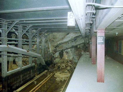 395057 06: (FILE PHOTO) Rubble and wreckage blocks a southbound track at the Cortland/WTC subway station in New York City in this undated photo taken after the collapse of the World Trade Center. Restrictions barring single-occupant cars from entering parts of New York City September 28, 2001 have combined with …