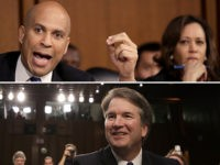 Above: Sens. Cory Booker (D-NJ) and Kamala Harris (D-CA). Below: Judge Brett Kavanaugh.