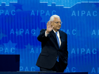U.S. Ambassador to Israel David Friedman waves to the crowd after speaking at the 2018 American Israel Public Affairs Committee (AIPAC) policy conference, at Washington Convention Center, Tuesday, March 6, 2018, in Washington. (AP Photo/Jose Luis Magana)