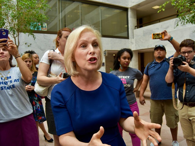 "Sen. Kirsten Gillibrand (D-NY), for the second day on Wednesday, joined protesters to say Brett Kavanaugh is ""dangerous for women"" and that ""women will die"" if he is confirmed as the next Supreme Court justice."