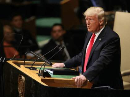 President Donald Trump addresses the 73rd United Nations (U.N.) General Assembly on September 25, 2018 in New York City. The United Nations General Assembly, or UNGA, is expected to attract 84 heads of state and 44 heads of government in New York City for a week of speeches, talks and …