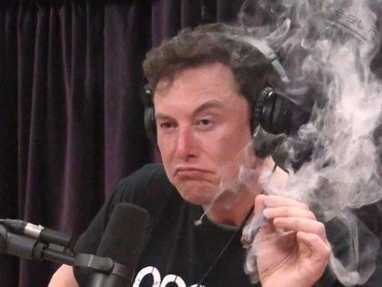 "Elon Musk, Tesla chairman, smokes a ""spliff"" (marijuana and tobacco cigar) on the Joe Rogan Experience podcast."