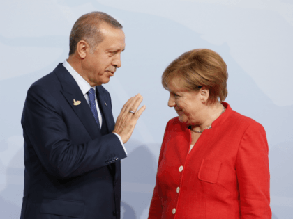 German Chancellor Angela Merkel officially welcomes Turkey's President Recep Erdogan to the opening day of the G20 summit on July 7, 2017 in Hamburg, Germany. Leaders of the G20 group of nations are meeting for the July 7-8 summit. Topics high on the agenda for the summit include climate policy …