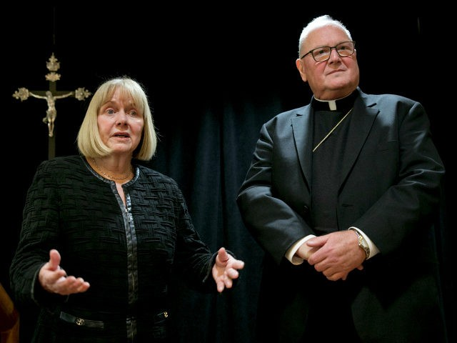 Former federal judge Barbara Jones and Cardinal Timothy Dolan address a news conference at the offices of the New York Archdiocese, in New York, Thursday, Sept. 20, 2018. The Roman Catholic Archdiocese of New York said Thursday that it has hired Jones to review its procedures and protocols for handling …