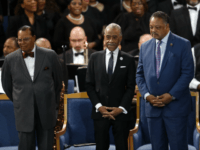 From left to right, Louis Farrakhan, Rev. Al Sharpton and Rev. Jesse Jackson attend the funeral service for Aretha Franklin at Greater Grace Temple, Friday, Aug. 31, 2018, in Detroit. Franklin died Aug. 16, 2018 of pancreatic cancer at the age of 76. (AP Photo/Paul Sancya)