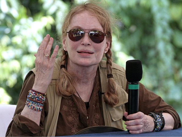 US actress Mia Farrow delivers a pess conference during a visit to an Amazonic area affected by pollution created by US oil company Chevron, in Lago Agrio, Aguarico, Ecuador, on January 28, 2014. AFP PHOTO/JUAN CEVALLOS (Photo credit should read JUAN CEVALLOS/AFP/Getty Images)