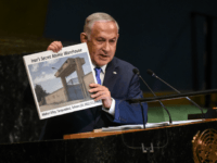 Benjamin Netanyahu, Prime Minister of Israel holds up a placard of a suspected Iranian atomic site while delivering a speech at the United Nations during the United Nations General Assembly on September 27, 2018 in New York City.World leaders are gathered for the 73rd annual meeting at the UN headquarters …