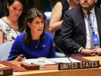 United States ambassador to the UN Nikki Haley speaks during a United Nations Security Council meeting on the situation in Myanmar at UN Headquarters in New York on August 28, 2018. (Photo by DOMINICK REUTER / AFP) (Photo credit should read DOMINICK REUTER/AFP/Getty Images)
