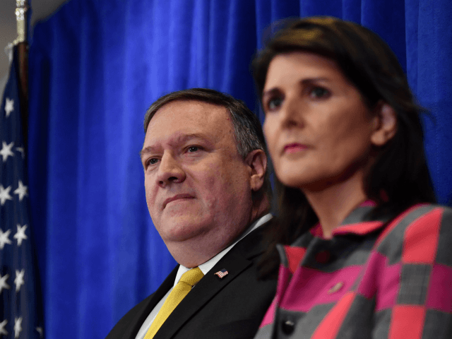 US Ambassador Nikki Haley (R), US Secretary of State Mike Pompeo (C) and US national security adviser John Bolton (L) give a press briefing in New York on September 24, 2018 on the sidelines of the annual United Nations General Assembly. (Photo by Nicholas Kamm / AFP) (Photo credit should …