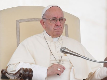 Pope Francis gives a weekly general audience at St Peter's square on May 9, 2018 in Vatican. (Photo by Tiziana FABI / AFP) (Photo credit should read TIZIANA FABI/AFP/Getty Images)