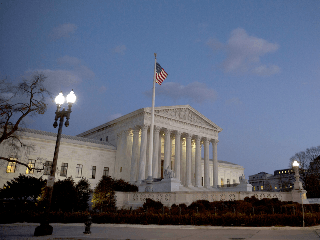 The U.S. Supreme Court is seen at dusk February 13, 2016 in Washington, DC. Supreme Court Justice Antonin Scalia was at a Texas Ranch Saturday morning when he died at the age of 79. (Photo by Drew Angerer/Getty Images)