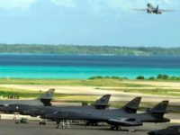 A US air force B-1B bomber takes off from the Diego Garcia base on the Chagos Islands for a mission in Afghanistan in 2001