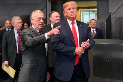 US Defense Secretary Jim Mattis, seen here with President Donald Trump, and Secretary of State Mike Pompeo, will hold talks in Delhi Thursday