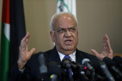 Palestine Liberation Organization chief Saeb Erekat addresses a press conference in the West Bank city of Ramallah on September 11, 2018