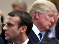 Macron (L) and other European leaders are trying to salvage a landmark 2015 accord to curb Tehran's nuclear programme, which Trump pulled the US out of last May