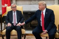 """US President Donald Trump, pictured with European Commission President Jean-Claude Juncker at the White house in July 2018, described the Luxembourgish politician as a """"tough cookie"""""""