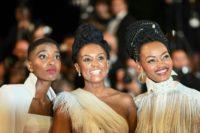 Kenyan actress Samantha Mugatsia, director Wanuri Kahiu, and actress Sheila Munyiva at the 71st edition of the Cannes Film Festival in southern France.