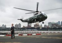 Marine One, carrying US President Donald Trump, lands in lower Manhattan in New York on September 23, 2018
