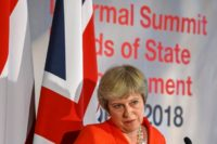 "British Prime Minister Theresa May insisted her plan for a UK-EU free trade area just for goods was ""the only proposal on the table"""