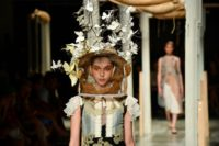 Italian designer Antonio Marras showed plant-adorned hats during his Women's Spring/Summer 2019 fashion shows in Milan